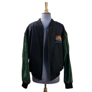 Men's Tony Nowak Varsity Jacket Black Wool Green